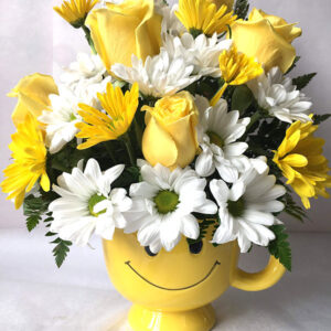 happy mug face yellow rosese